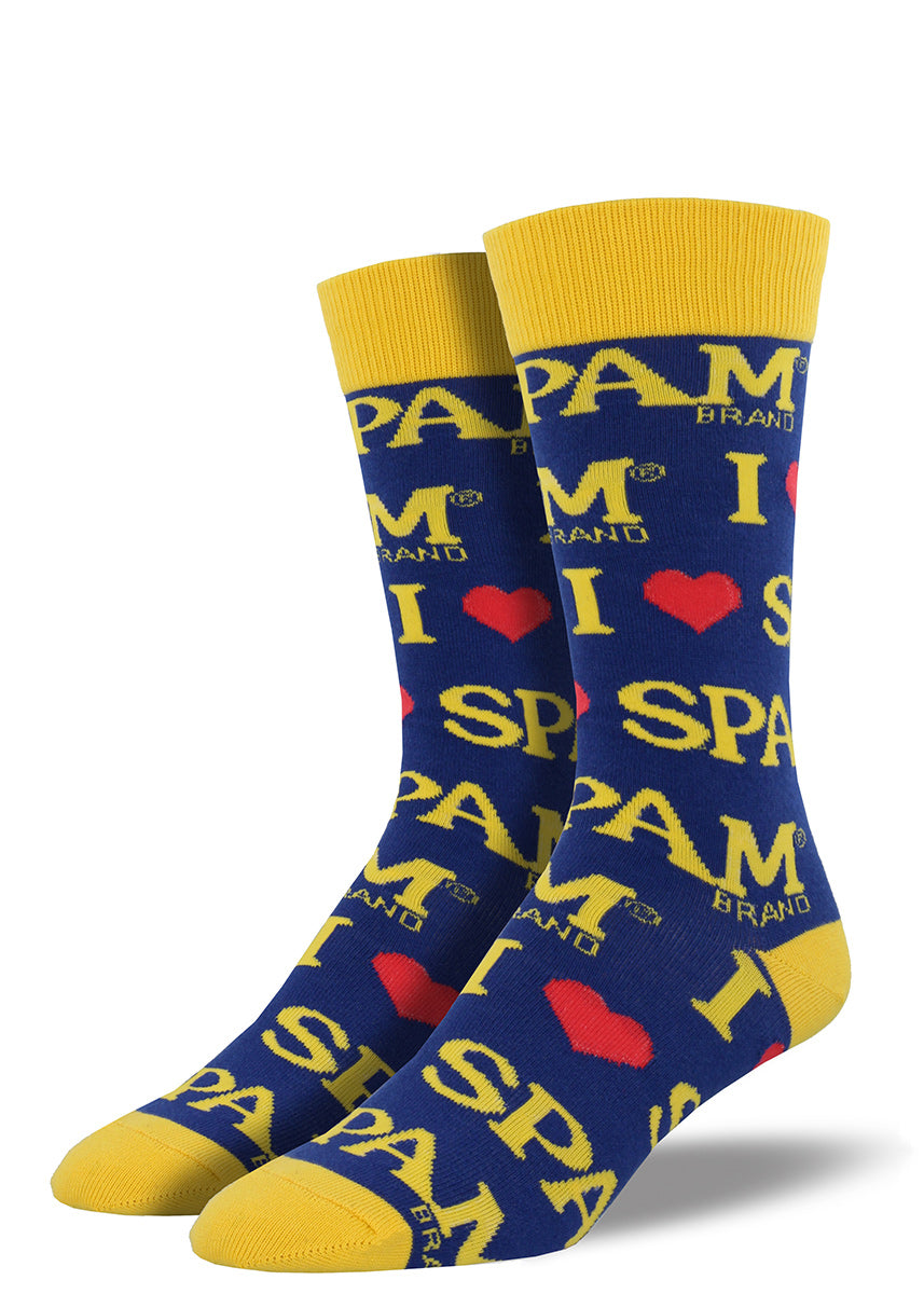 "Spam socks for men with the Spam logo that say ""I Heart Spam"""