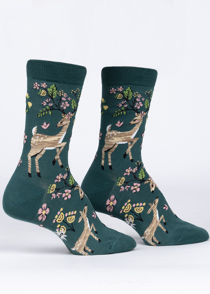 Spring socks for women show adorable deer with flowers and leaves bursting out of their antlers.