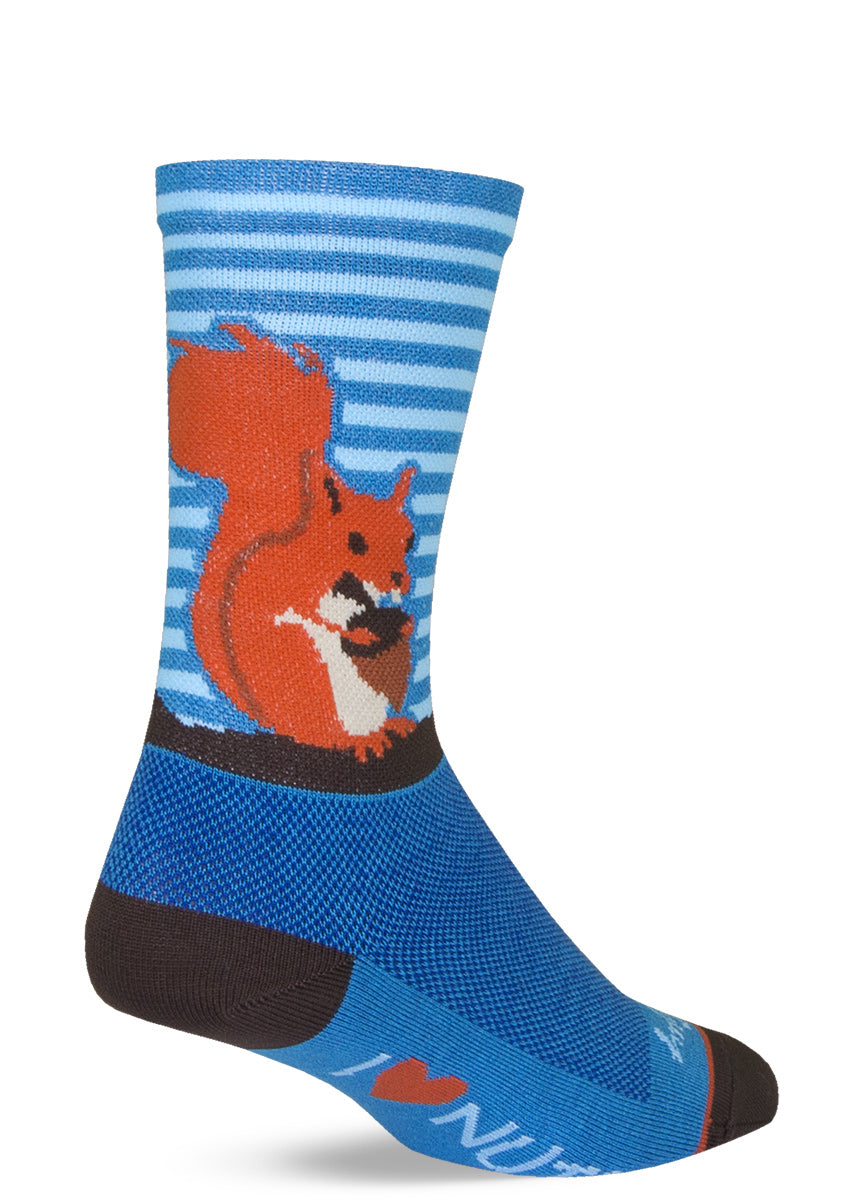 "Funny squirrel socks with blue striped backgrounds and ""I Heart Nuts"" on the bottoms of the feet"