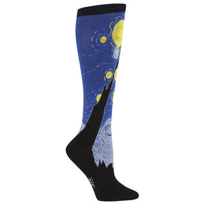 Van Gogh's starry masterpiece is recreated on these blue, black and yellow knee high socks.
