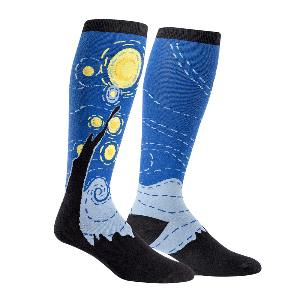 Van Gogh's Starry Night knee socks for women with extra stretch for wide calves