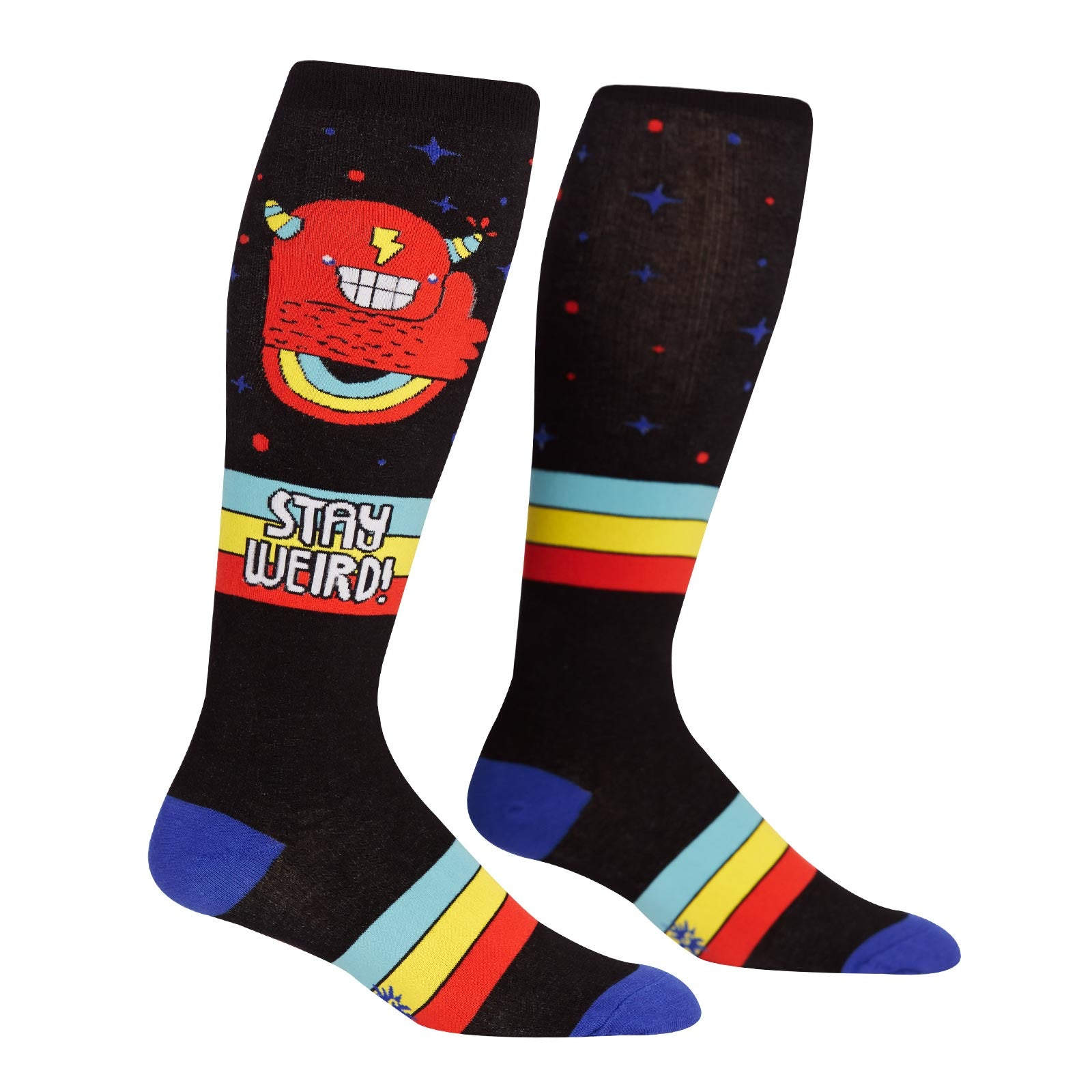 Extra-stretchy STAY WEIRD knee-high socks with monsters for wide calves