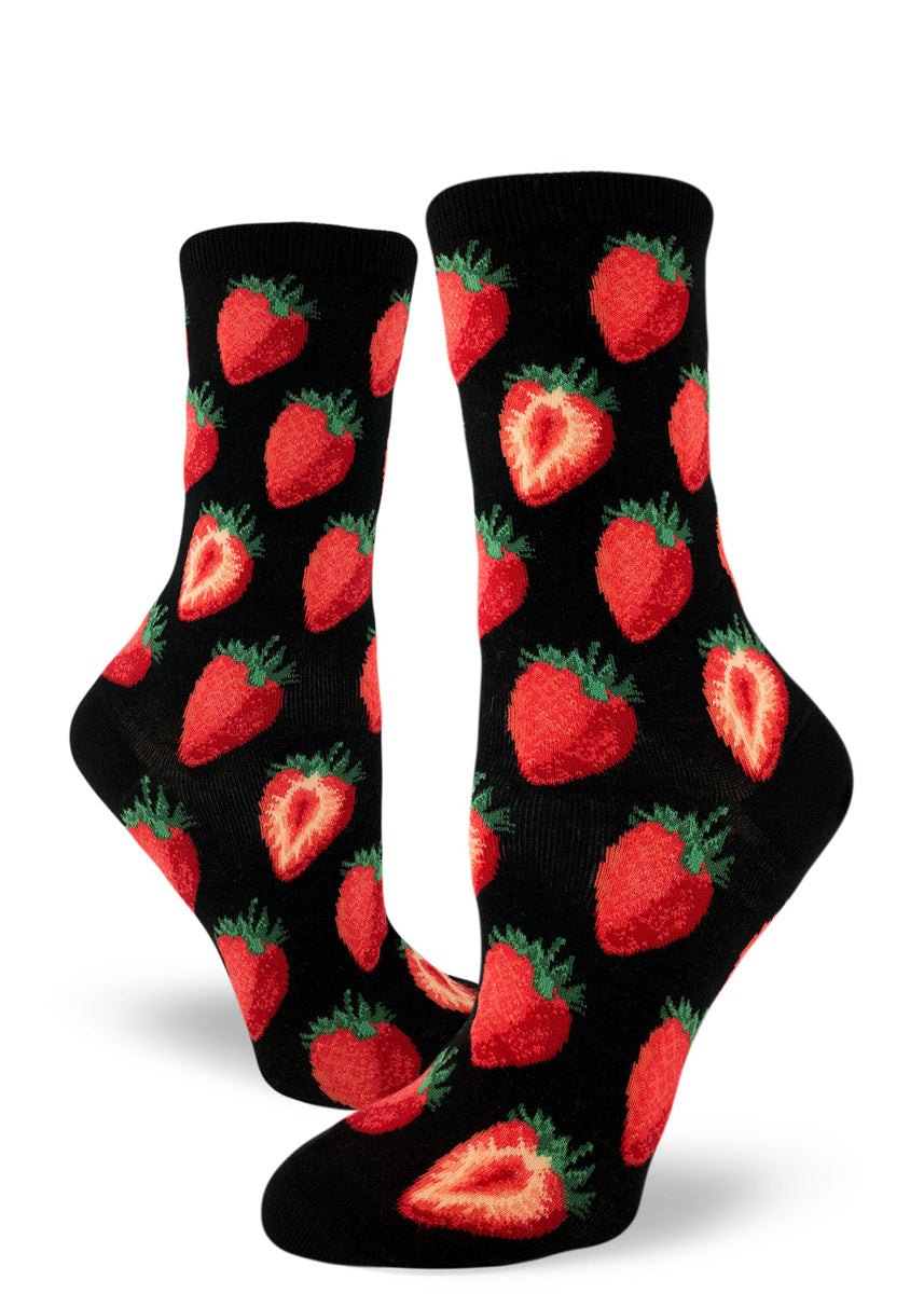 Strawberry socks for women with cute strawberries on a black background