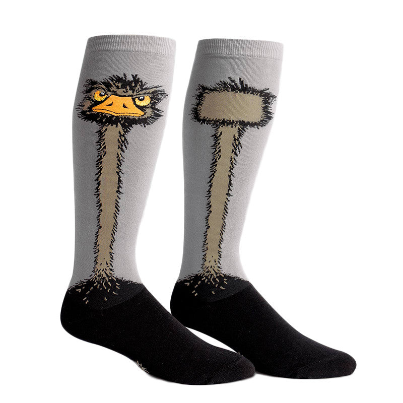 Funky ostrich socks for women with extra stretch to fit wide calves