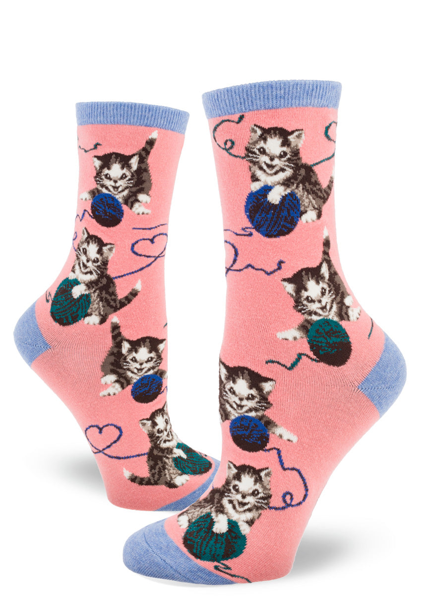 Cute cat socks for women feature adorable kitten playing with balls of yarn that form hearts!