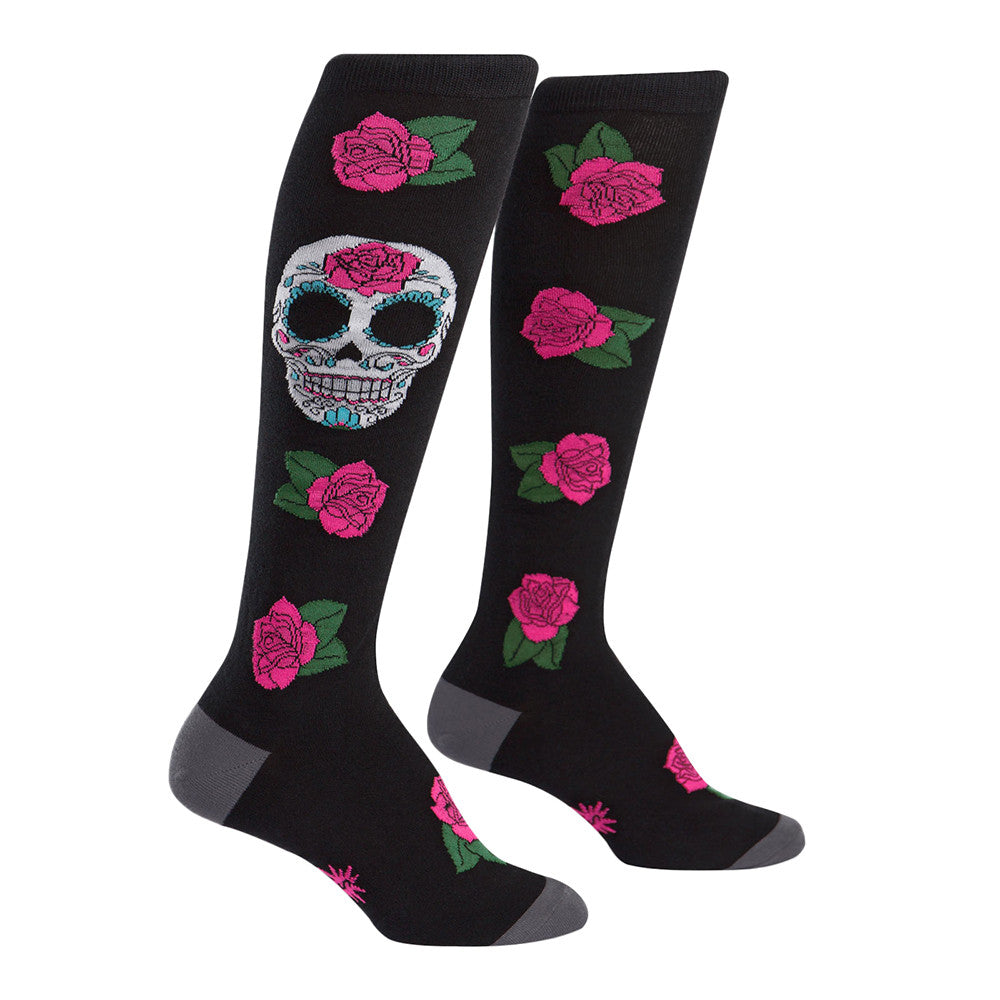 Cute sugar skull knee socks for women with roses and Dia de Los Muertos skulls