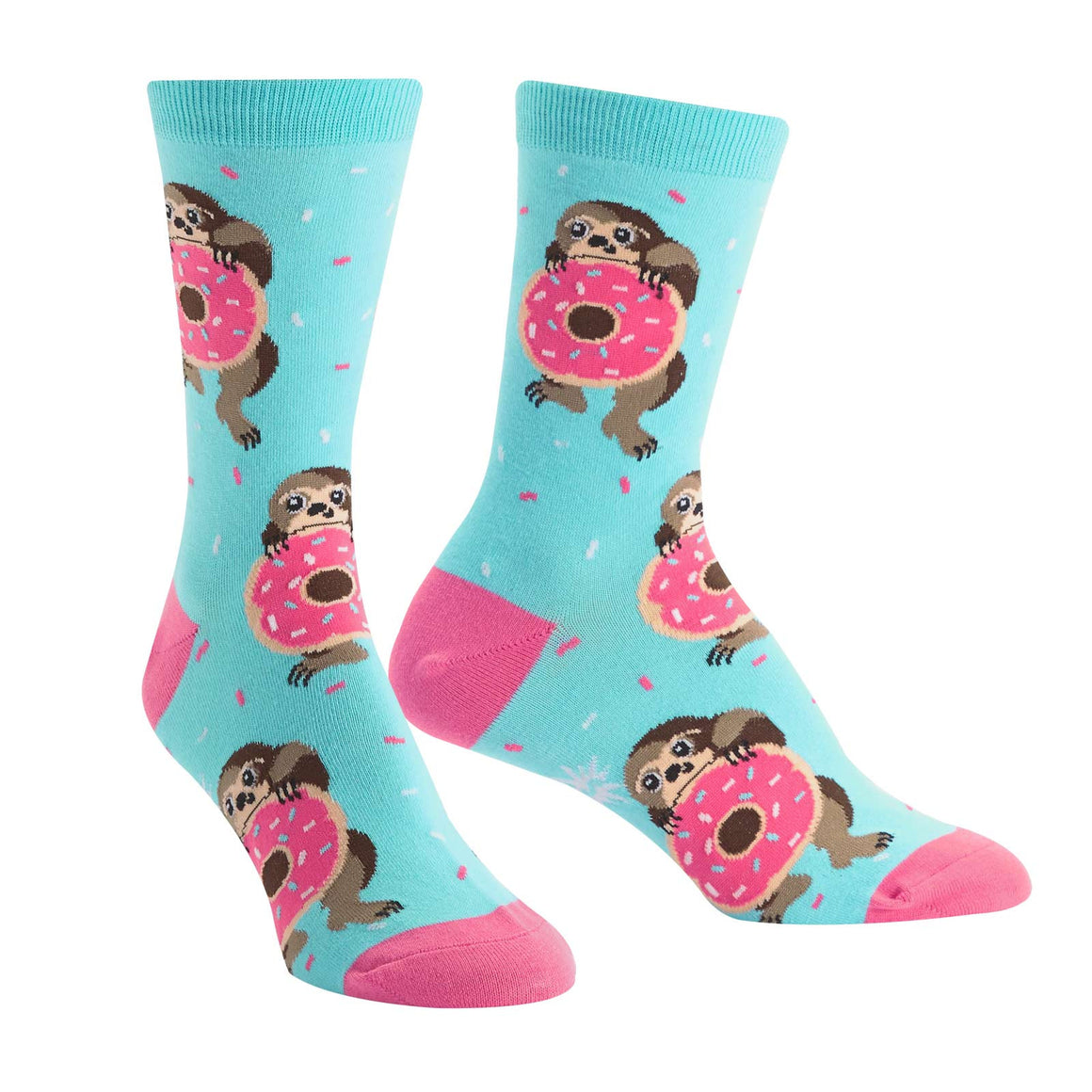 Hungry sloths latch onto sprinkle donuts with pink frosting on this blue crew sock for women.
