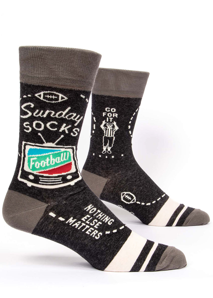 "Funny football socks for men that say ""Sunday Socks"" ""Football"" and ""Nothing Else Matters"" with TVs"