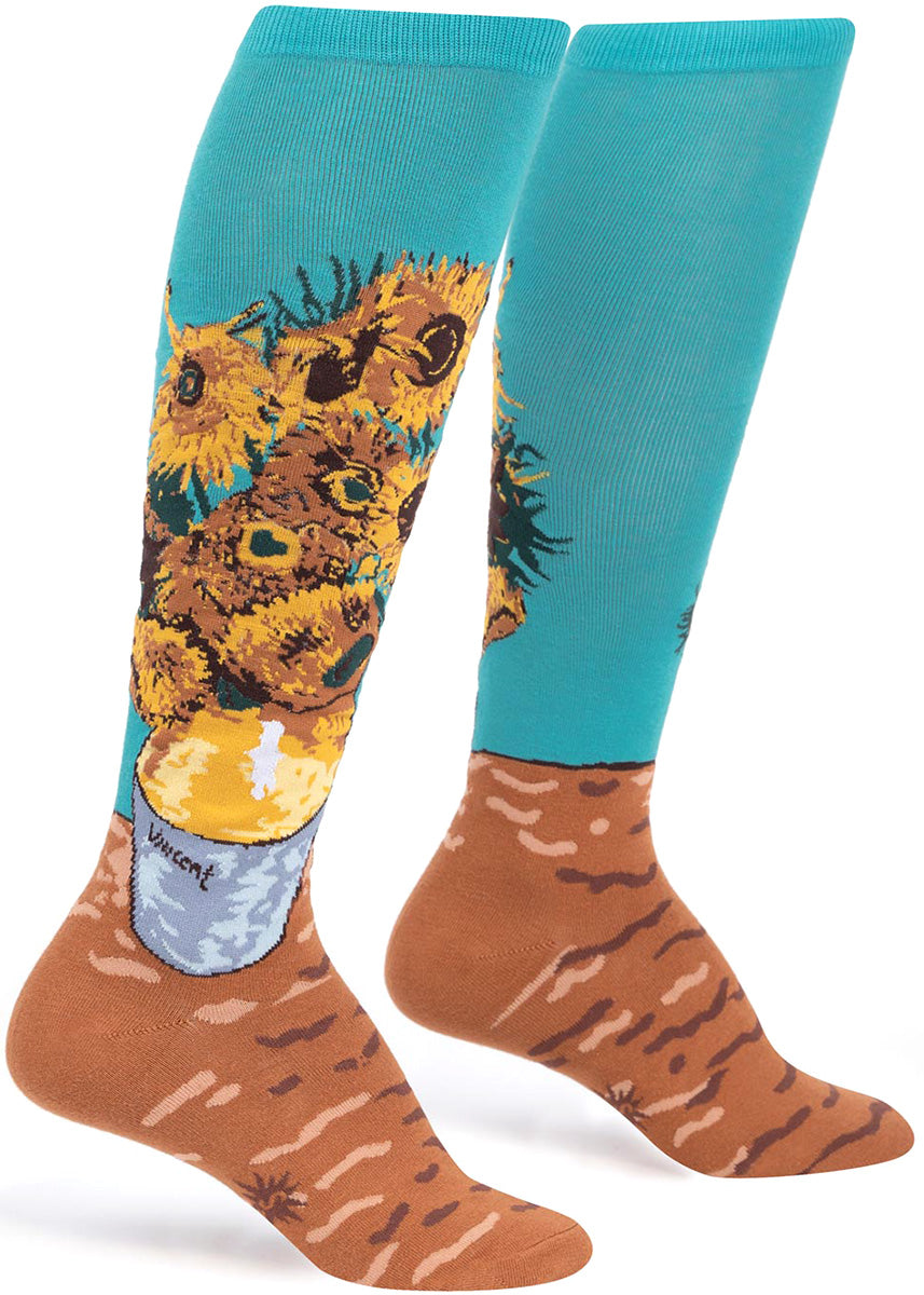 Knee-high socks for women are made to look like Vincent van Gogh's painting, Vase with  Twelve Sunflowers.