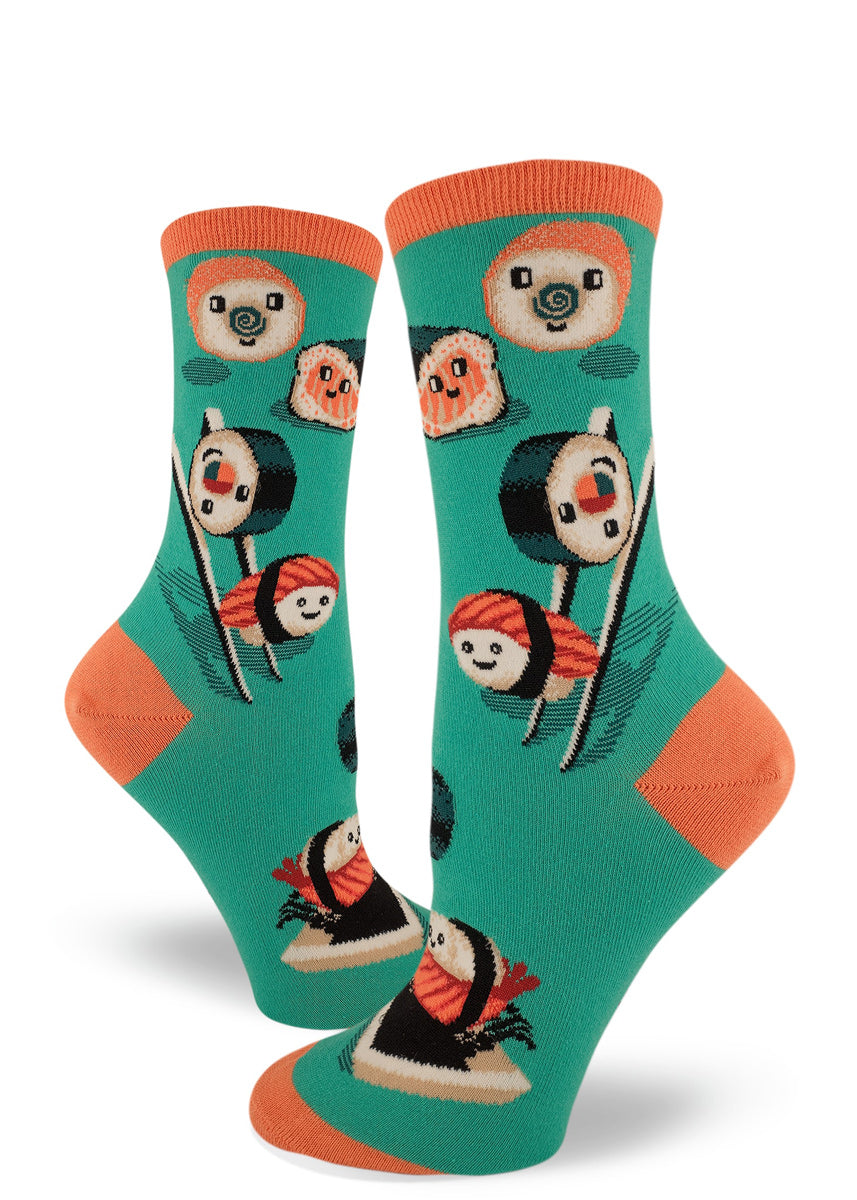 Cute sushi socks for women with happy sushi playing on chopsticks and soy sauce