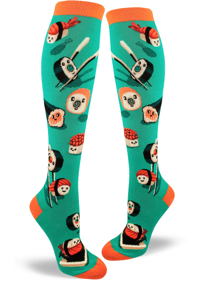 Knee-high sushi socks for women with cute pieces of happy sushi on teal socks
