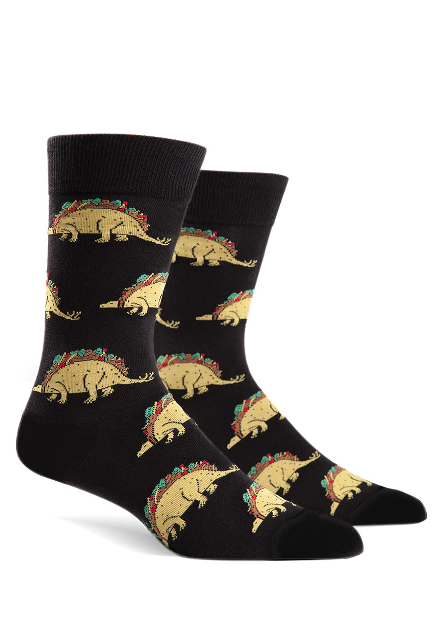 Tacosaurus men's socks with taco dinosaurs on a black background
