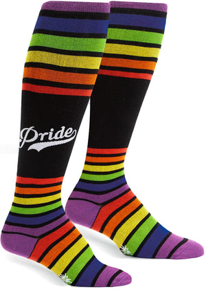 "Team Pride knee-high socks with black and rainbow stripes and the word ""Pride"""