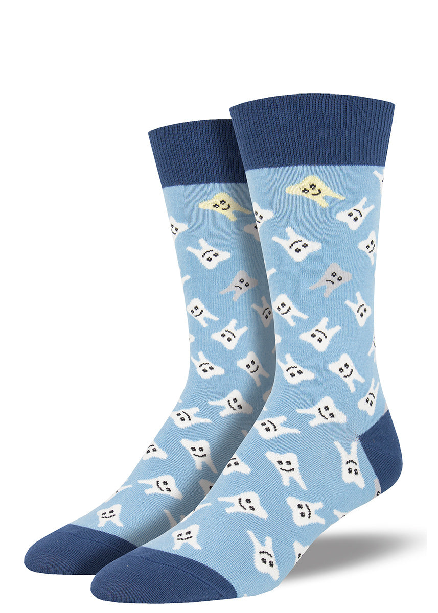 Tooth socks for men with happy teeth