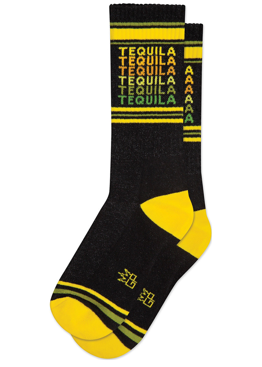 "The word ""Tequila"" repeated in yellow to green on retro gym socks."