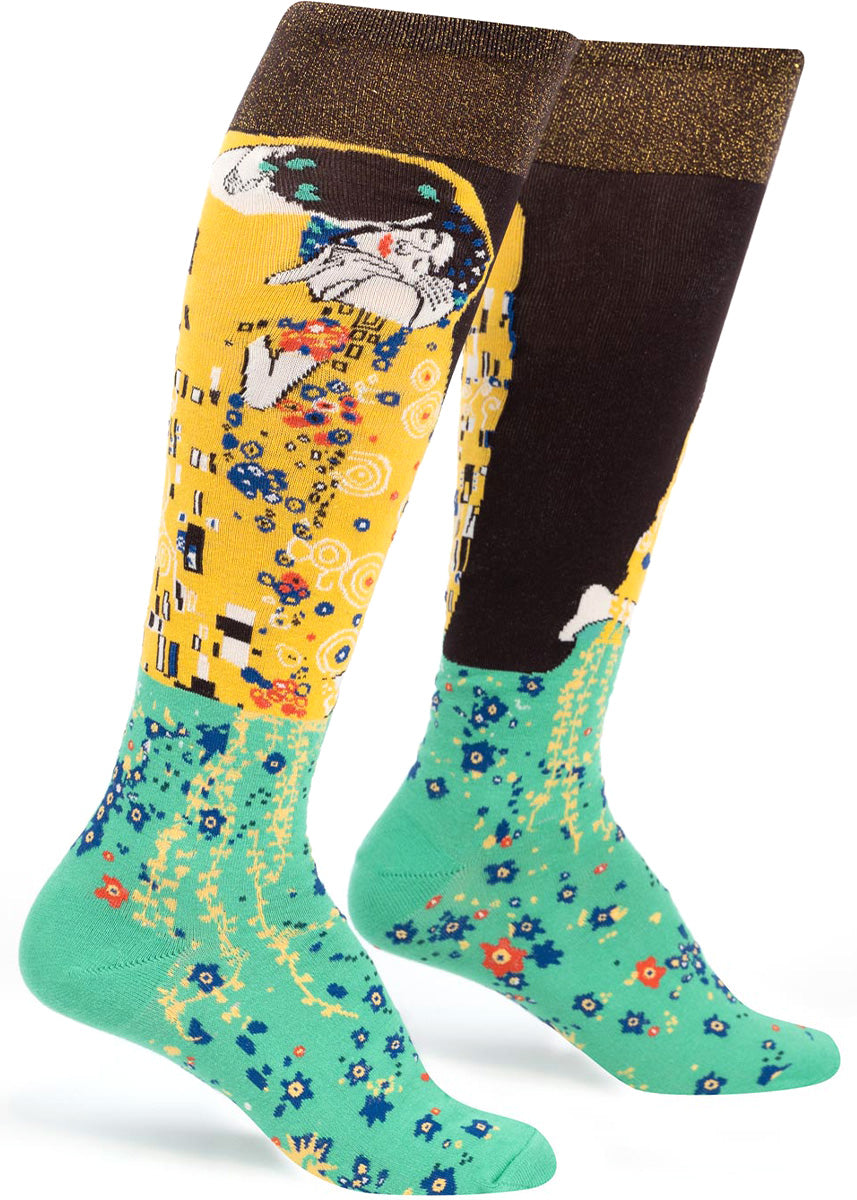 Knee socks for women are made to look like Gustav Klimt's painting, The Kiss, which features a couple embracing.