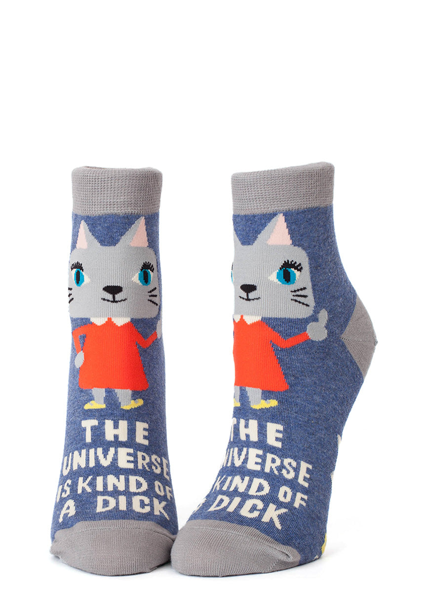 "Funny cat ankle socks for women that say ""The Universe is Kind Of A Dick"""