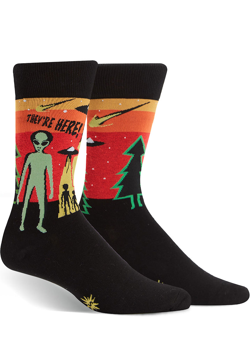 "Alien socks for men with the words ""They're Here!"" UFOs, aliens and a 1950s science fiction vibe"