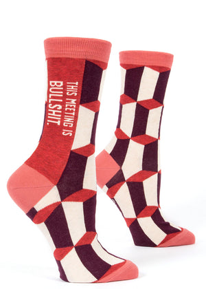 "These funny women's socks say ""This meeting is bullshit."" Great for work!"