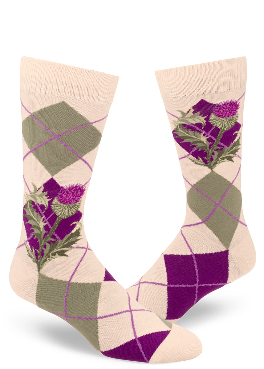 Argyle thistle socks for men with thistle flowers and leaves on purple, green and cream diamond pattern