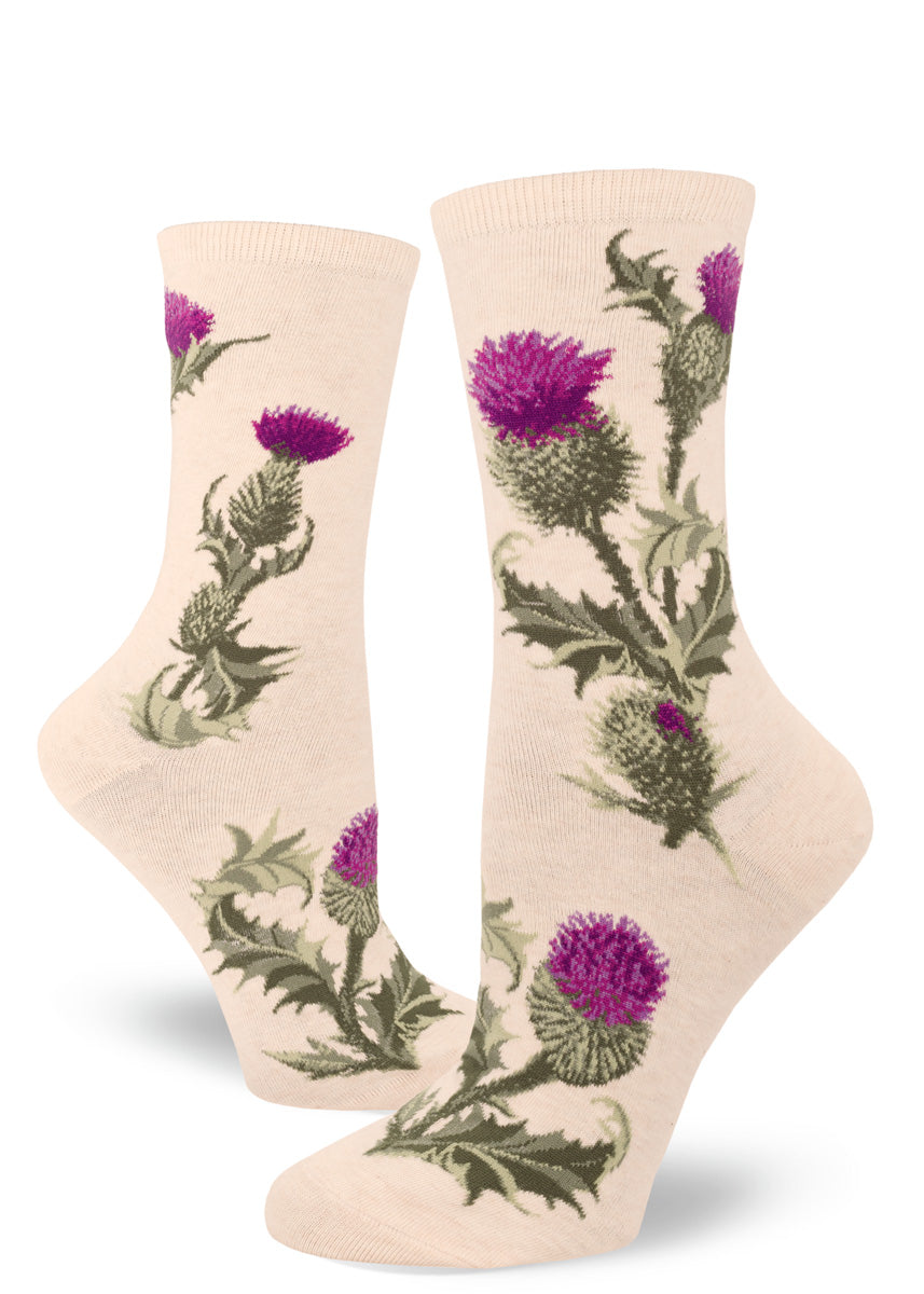 Thistle socks for women with thistle flowers and leaves on a cream background