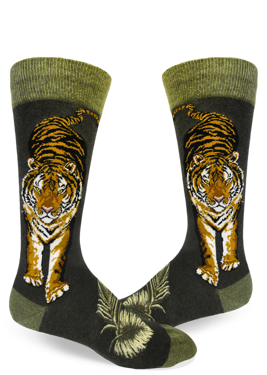 8e0459a3ce116 Tiger socks for men with large tigers facing forward and looking fierce on  a green background