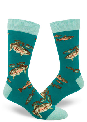 Trout socks for men with fish swimming on a teal background