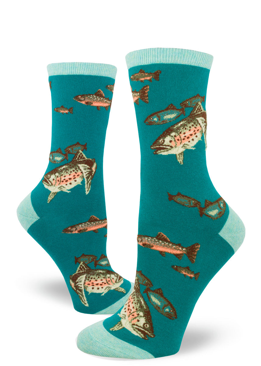 Trout socks for women with fish on a teal background