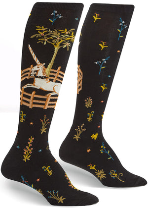 Unicorn tapestry socks based on the famous art with a unicorn and flowers on knee-high socks for women