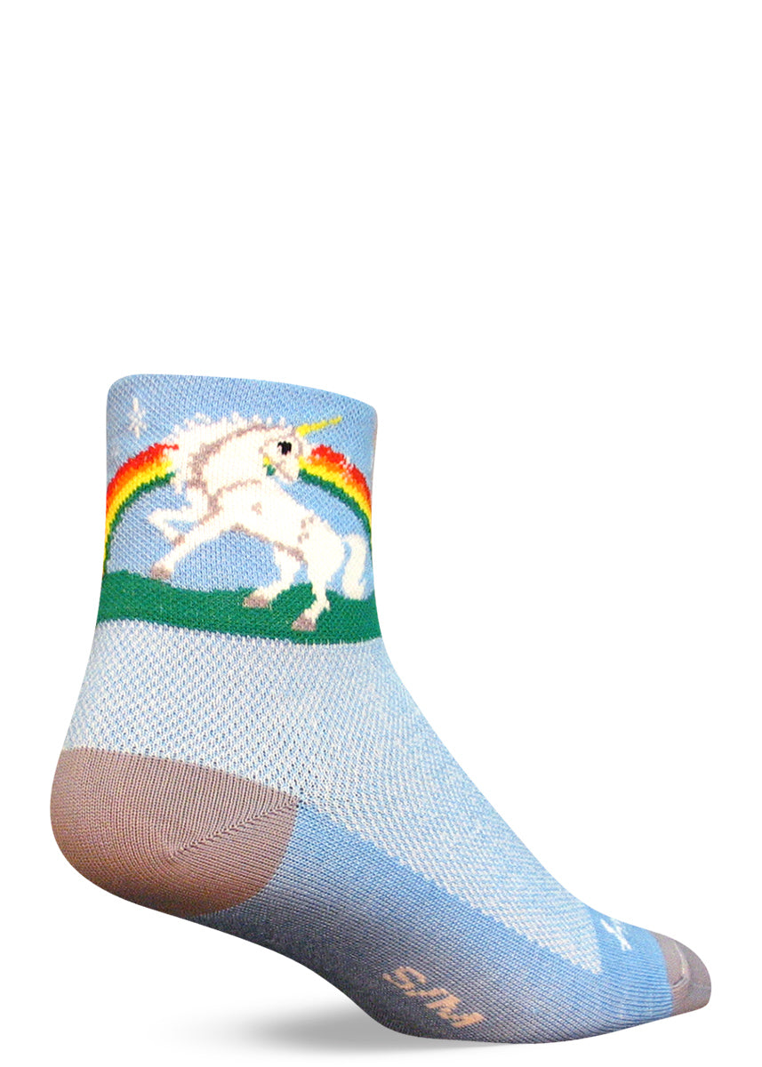 "Unicorn ankle socks for men and women with unicorns, rainbows & the words ""Better than horses"" on the bottoms of the feet"
