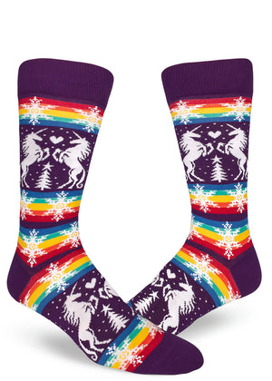 Funny gay Christmas socks for men with unicorns and snowflakes on a rainbow background.
