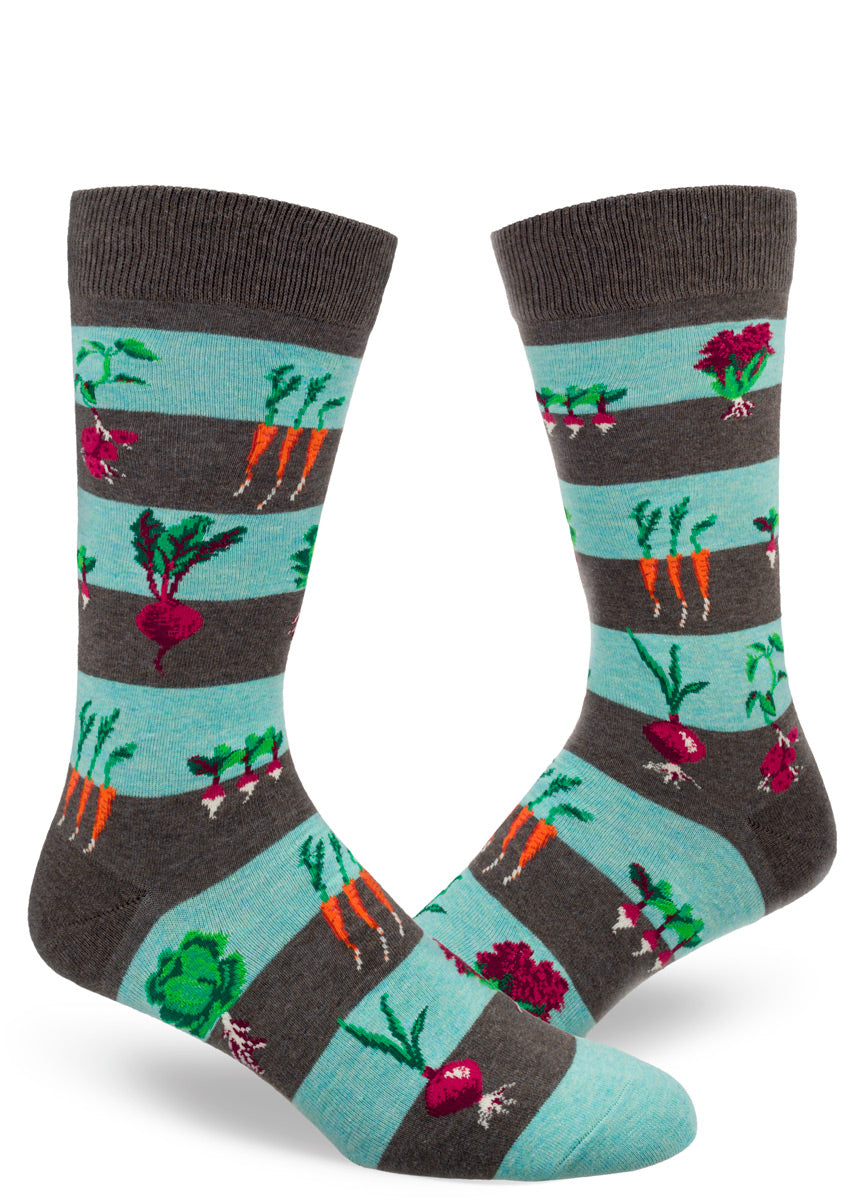 Vegetable garden socks for men show carrots, beets, onions and more growing beneath and above the ground!
