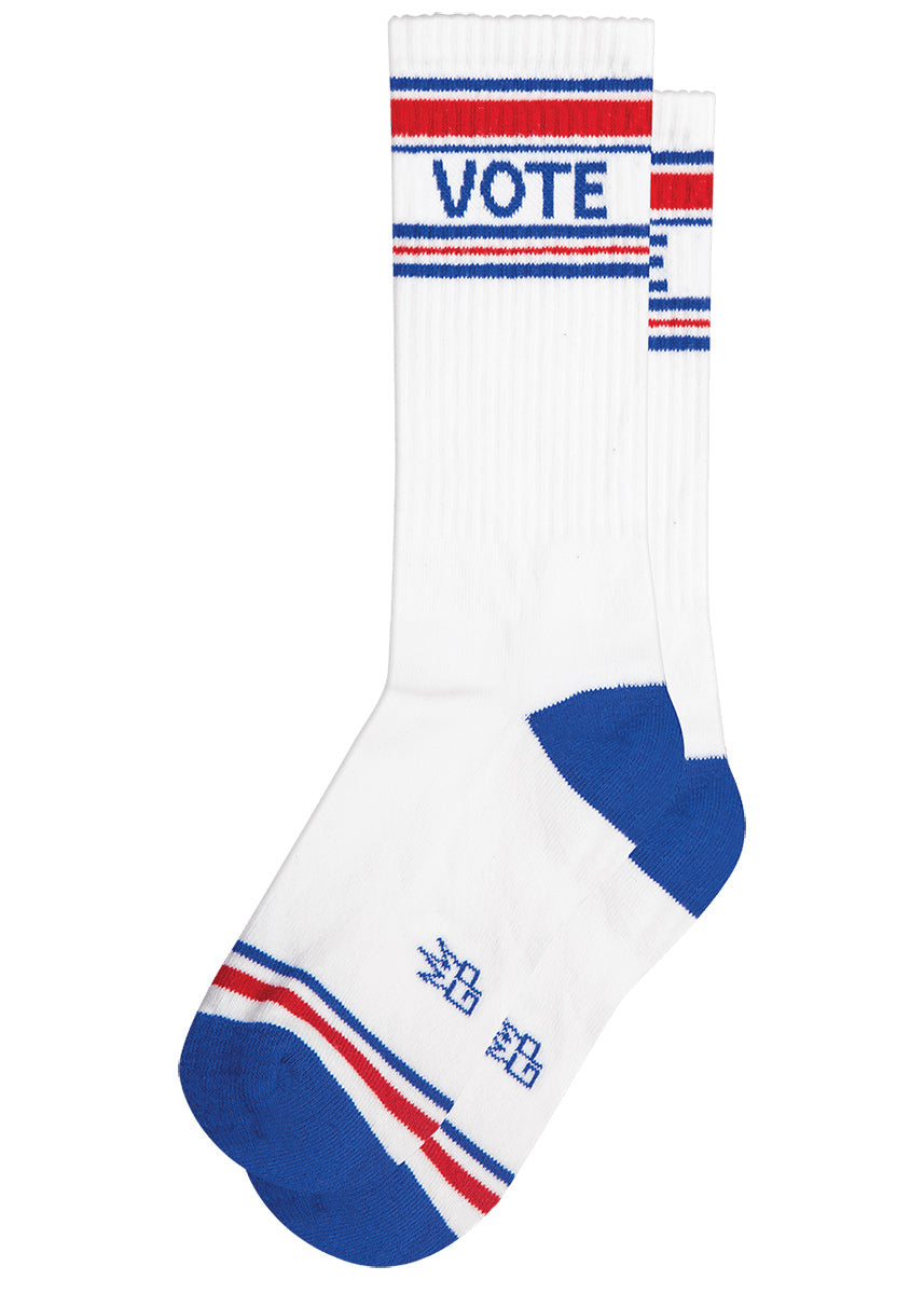 "Vote socks with red and blue stripes on a white background and the word ""VOTE"""