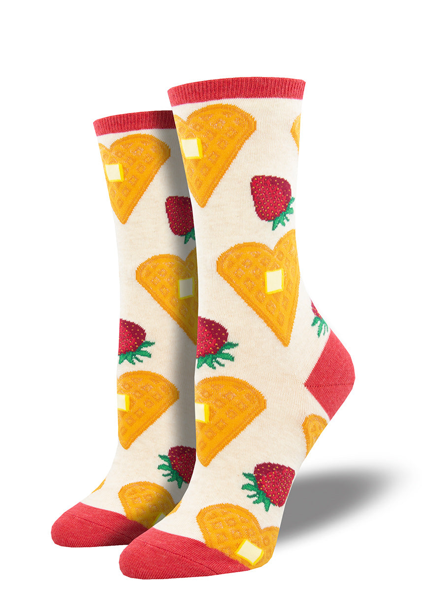 Cute breakfast socks for women feature heart-shaped waffles with strawberries and butter!
