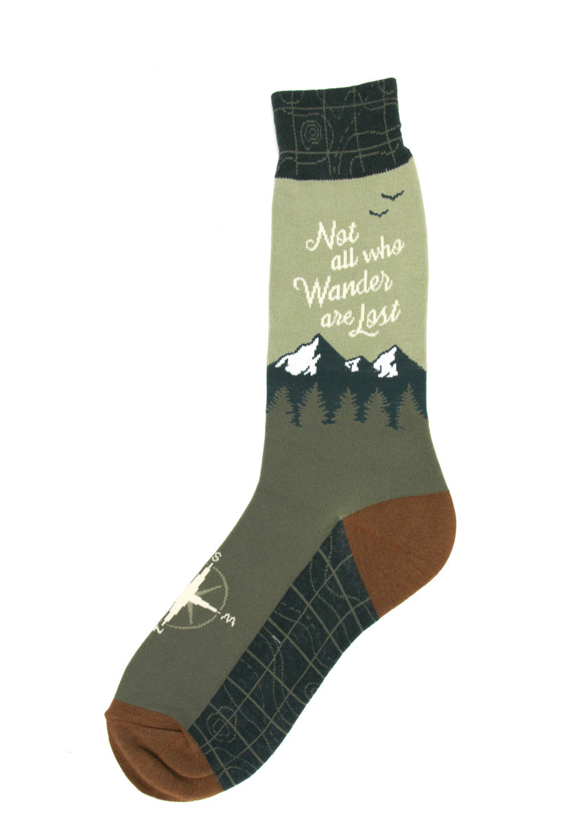 "Explorer socks for men feature a mountain scene with the words, ""Not all who wander are lost,"" and map-print cuffs and soles."