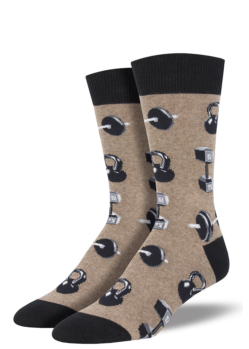 Weightlifting socks with barbells and kettlebells