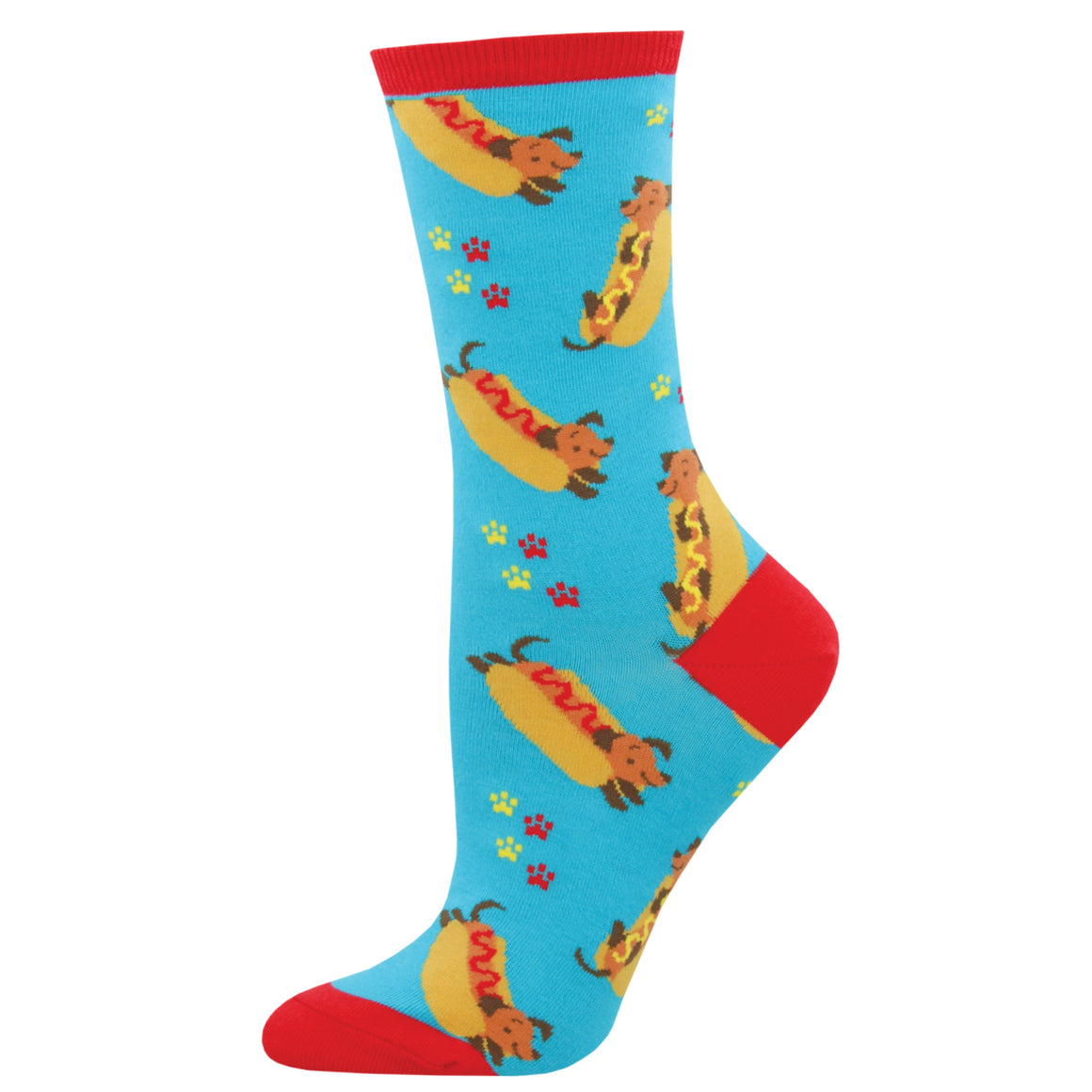 Ketchup and mustard complete these hot dog dachshund socks for women.
