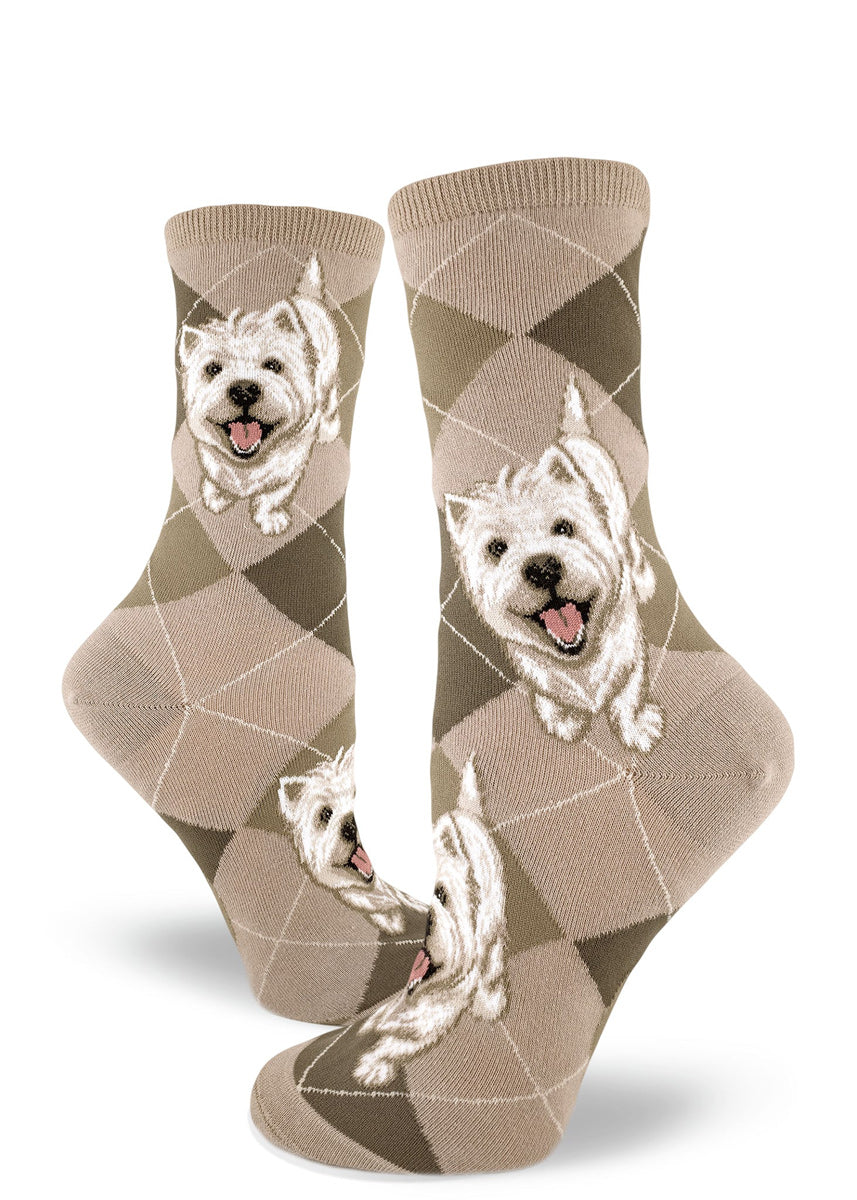 Westie socks for women with West Highland Terrier dogs on argyle socks in a light tan color