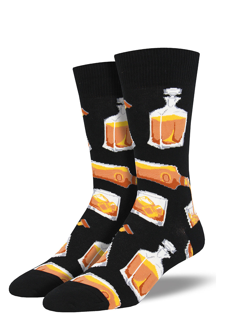 Whiskey socks for men with bottles of alcohol pouring out whiskey, scotch and bourbon.