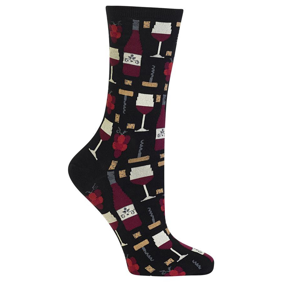 Uncork a bottle of fun and relaxation in wine crew socks for women.