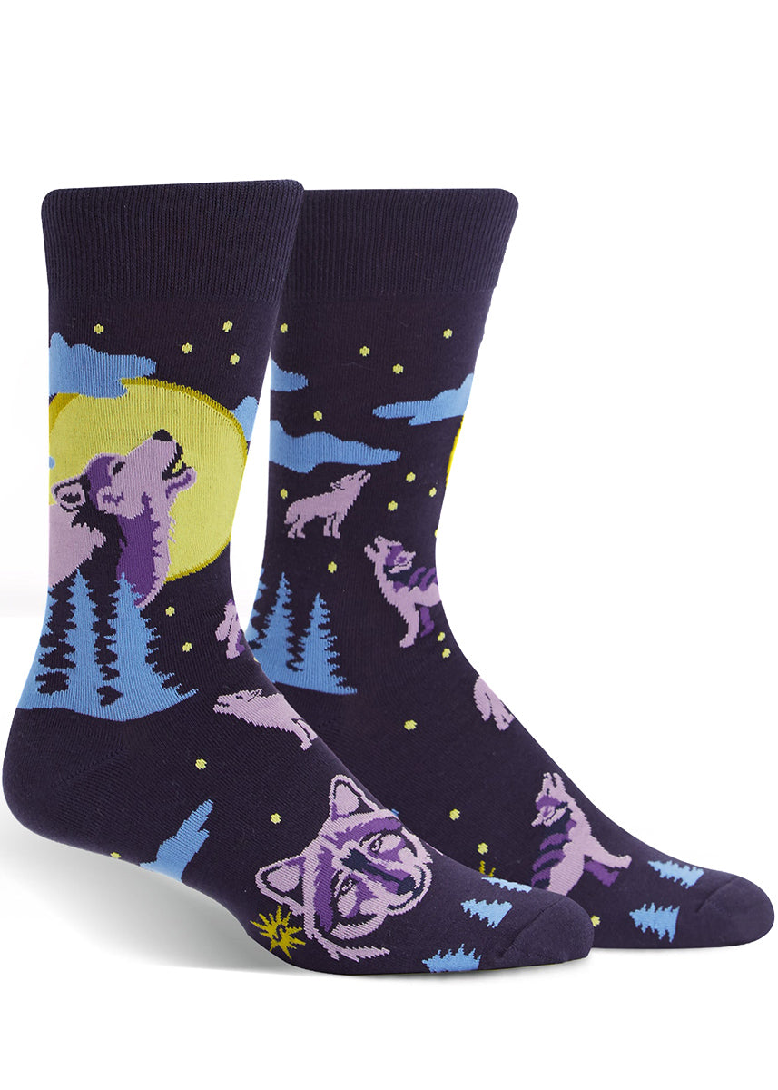 Wolf socks for men with wolves howling at the moon, trees and night sky