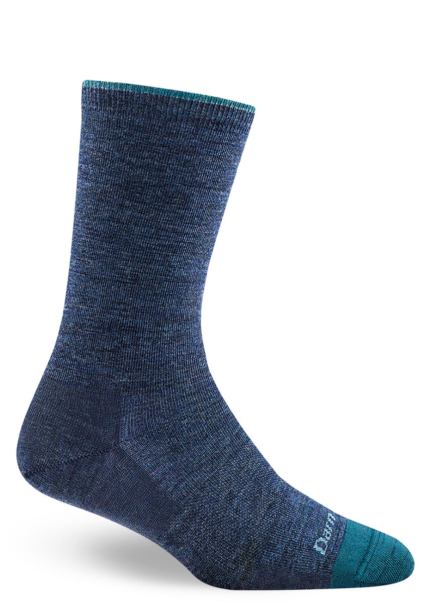 Denim blue wool socks for women with thin-profile and high durability