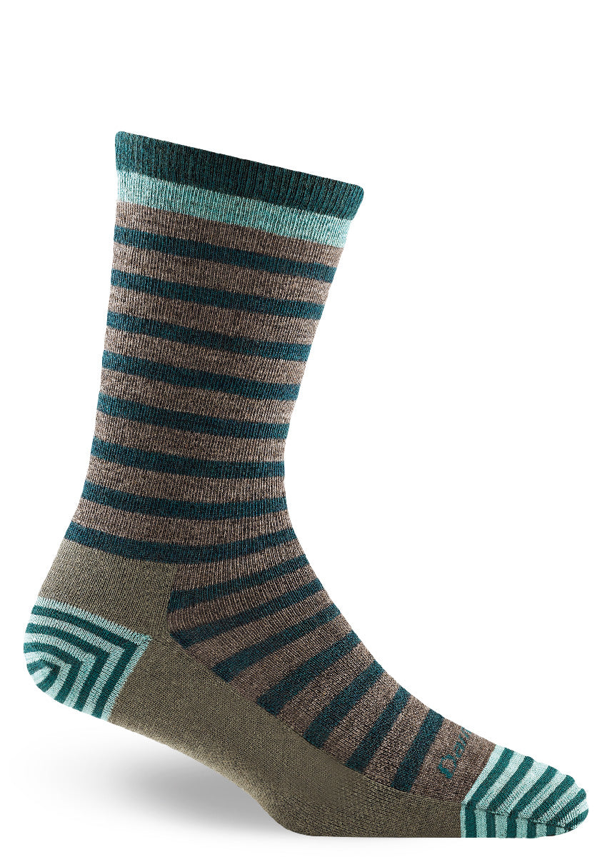 Wool socks for women feature dark teal stripes on a gray background.