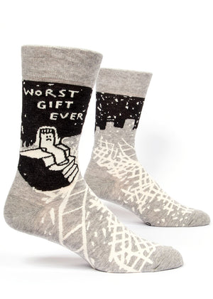 "Funny socks for men that say ""Worst gift ever"" with a lonely sock sitting on stairs"