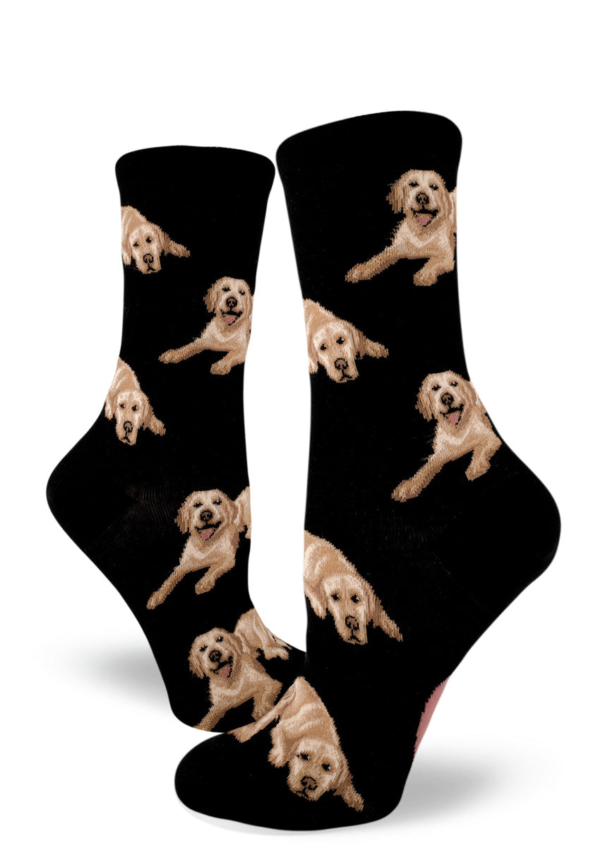 Happy lab dog socks for women with cute Labrador retrievers with yellow coats on a black background
