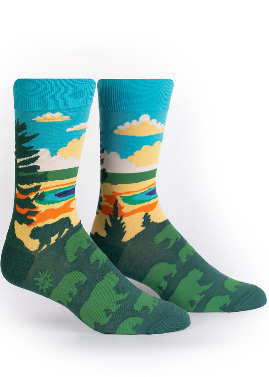 Yellowstone National Park socks for men show a nature scene with the Grand Prismatic Spring.