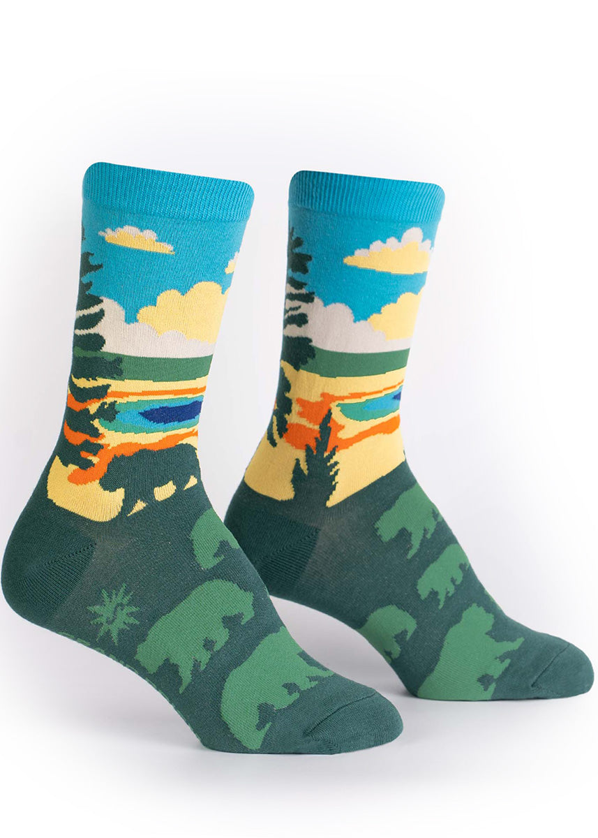 National park socks for women show a beautiful nature scene of the Grand Prismatic Spring at Yellowstone.