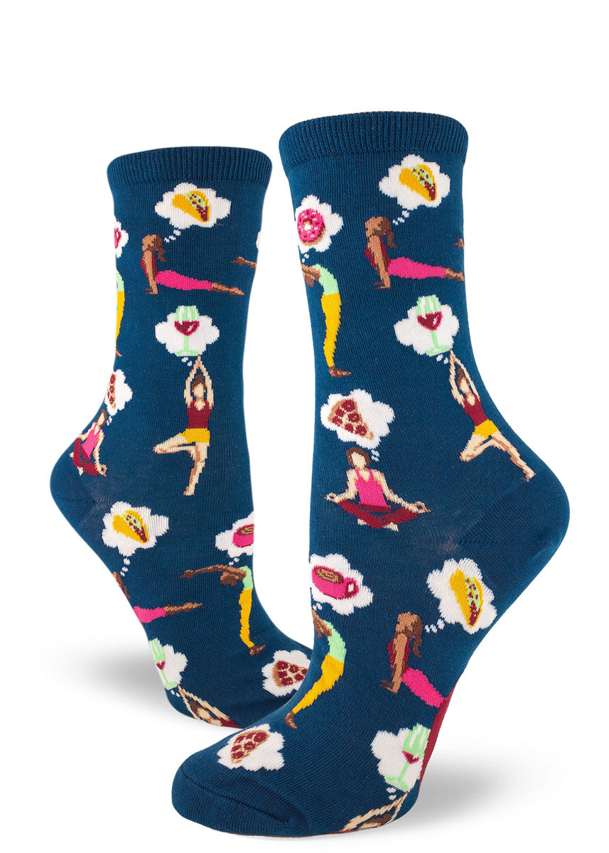 Fun yoga socks for women with yoga poses and yoga people thinking about food like pizza, donuts and red wine