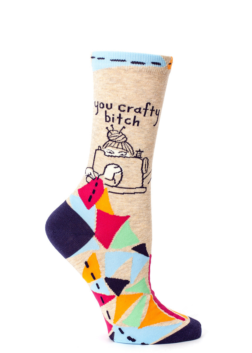 "Get creative in ""You crafty bitch"" socks for women who sew."