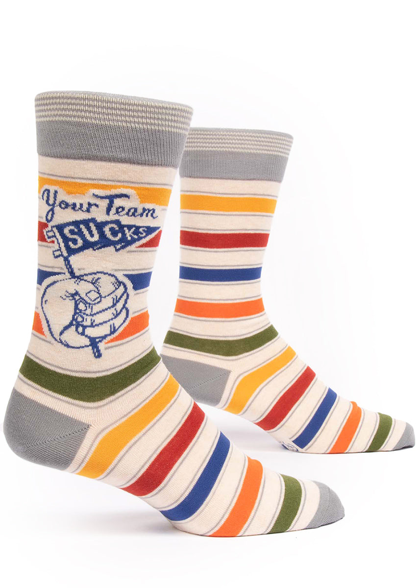 "Colorful striped sports socks for men that say ""Your Team Sucks"""
